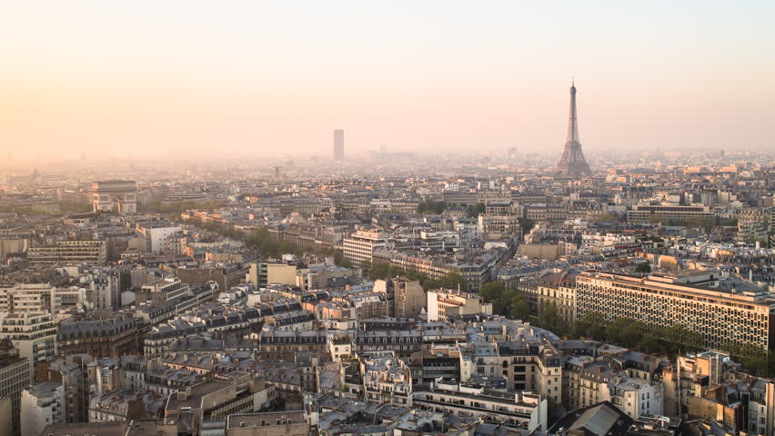 Elevated view of city with the Eiffel Tower in the distance, CIRCA 2015- Paris, France - timelapse   Shutterstock HD Video #11605580