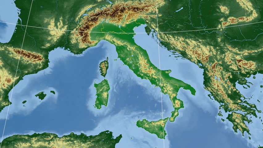 Lazio Region Extruded On The Physical Map Of Italy Rivers And Lakes
