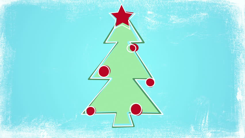 Childs Drawing Style Christmas Tree Stock Footage Video 100
