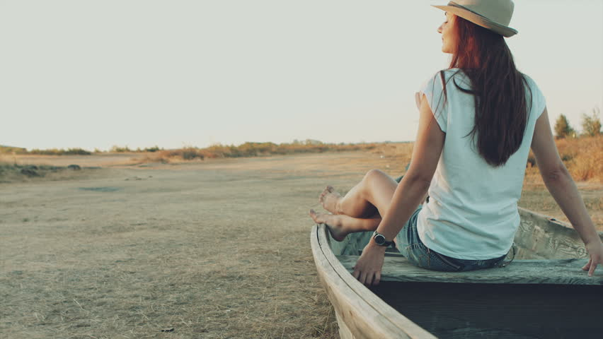 Little Girl Rowing On The Boat Stock Photo - Image of