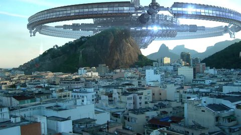 UFO fleet of wheel-spaceships and drones, above buildings in Rio de Janeiro, Brazil, for futuristic, fantasy, interstellar travel or war-game backgrounds.