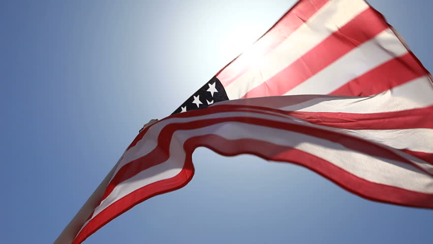 Flag of the United States waving in the wind