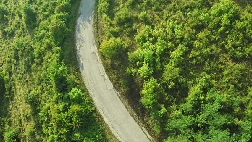 AERIAL view. Flight over forest road in mountains  #11671970