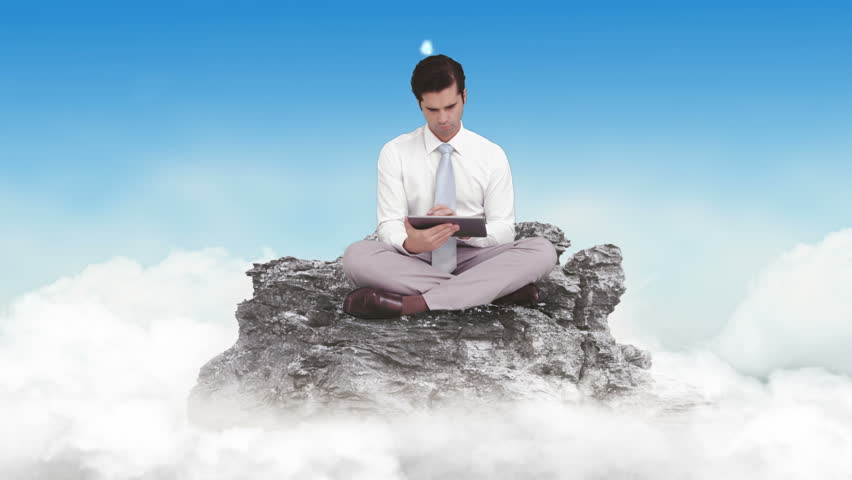 Digital animation of Businessman using tablet in the clouds | Shutterstock HD Video #11674598