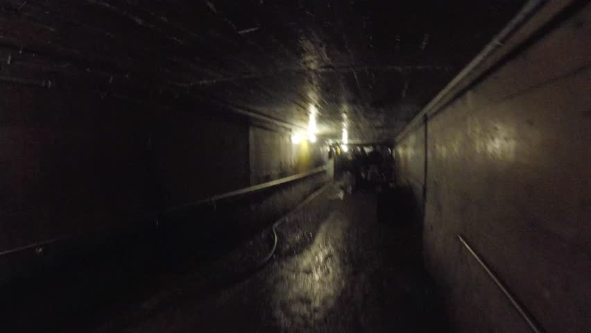 Tourists walking through a dark underground coal mine | Shutterstock HD Video #11682860