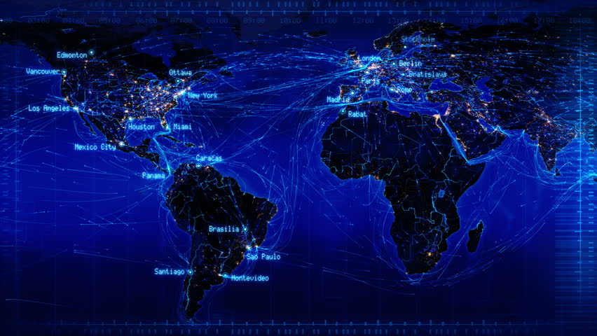 World map with connections and city lights loopable world map with world map with connections and city lights loopable world map with major cities names and country borders aerial maritime and ground routes blue gumiabroncs Image collections