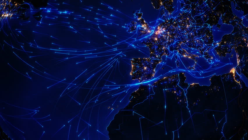 World connections. Europe. Aerial, maritime, ground routes and country borders. Animation of the Earth with bright connections and city lights. Locked. Blue. Images courtesy of http://www.nasa.gov | Shutterstock HD Video #11728700
