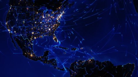World connections. Central America. Aerial, maritime, ground routes and country borders. Animation of the Earth with bright connections and city lights. Locked. Blue. Images: http://www.nasa.gov.