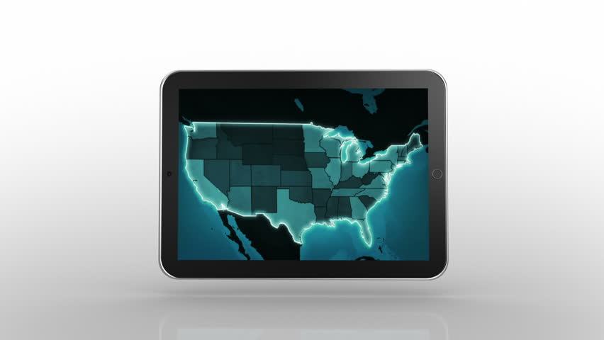 Laptop Animation Spinning Blue US Map Video On The Screen - Hd us map background