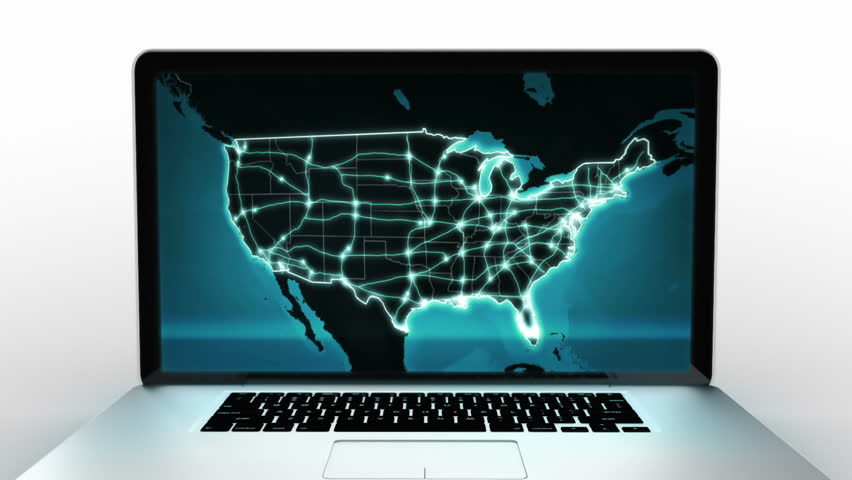 Stock Video Clip of Laptop animation Spinning Blue US map video
