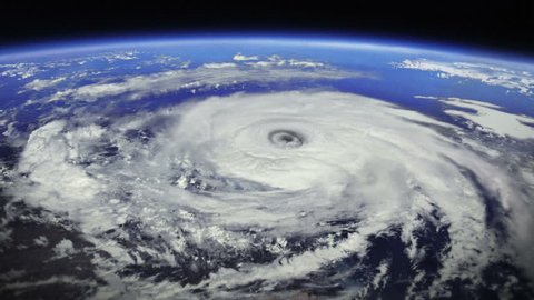 Hurricane. 2 videos in 1 file. Huge hurricane seen from space. Earth map based on images courtesy of: NASA http://www.nasa.gov.