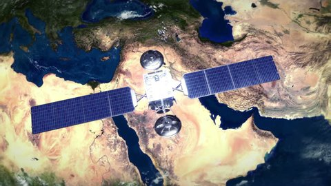 Middle East. Highly detailed telecommunication satellite orbiting the Earth. Satellite and Earth models based on images courtesy of: NASA http://www.nasa.gov. 2 videos in 1 file.