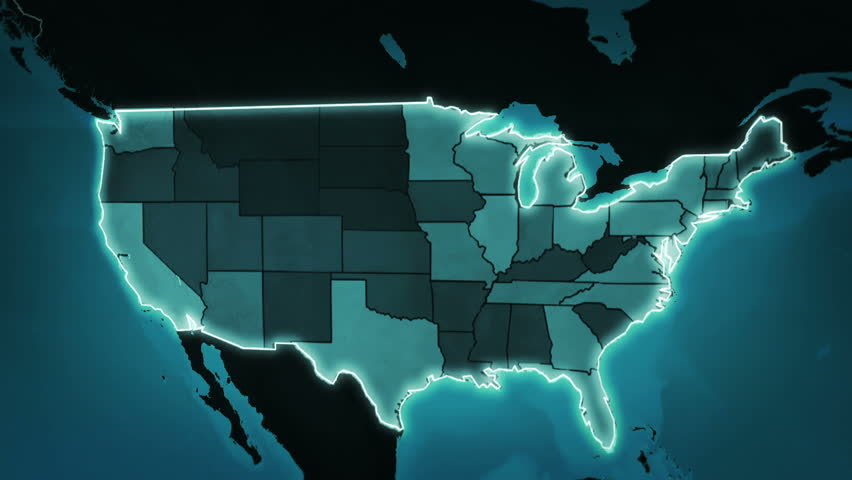 Map Stock Footage Video Shutterstock - Map of us blue