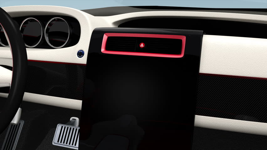 Demonstration of  electric car console UI design. Showing system information, navigation map, and media player functions.