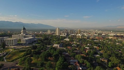 Aerial video of Salt Lake City, Utah. Capitol building and LDS Church.