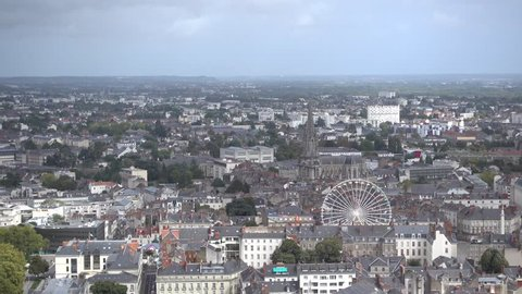 NANTES, FRANCE - CIRCA SEPTEMBER 2015: View of Nantes from the top of Tour Bretagne, a 37 stories skyscraper situated in downtown Nantes.