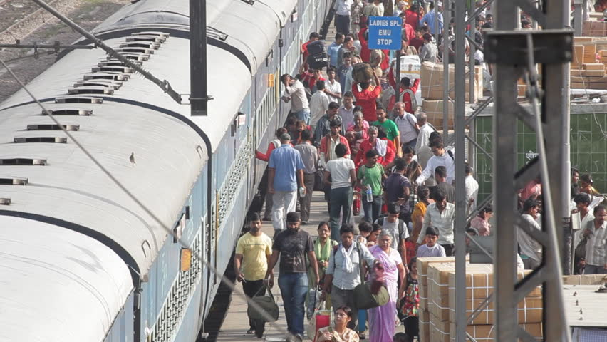 NEW DELHI, INDIA - MAY 18: A busy railway station in the beginning of summer, May 18, 2011, New Delhi, India. Indian Railways has the world's fourth largest railway network after those of the United States, Russia and China.