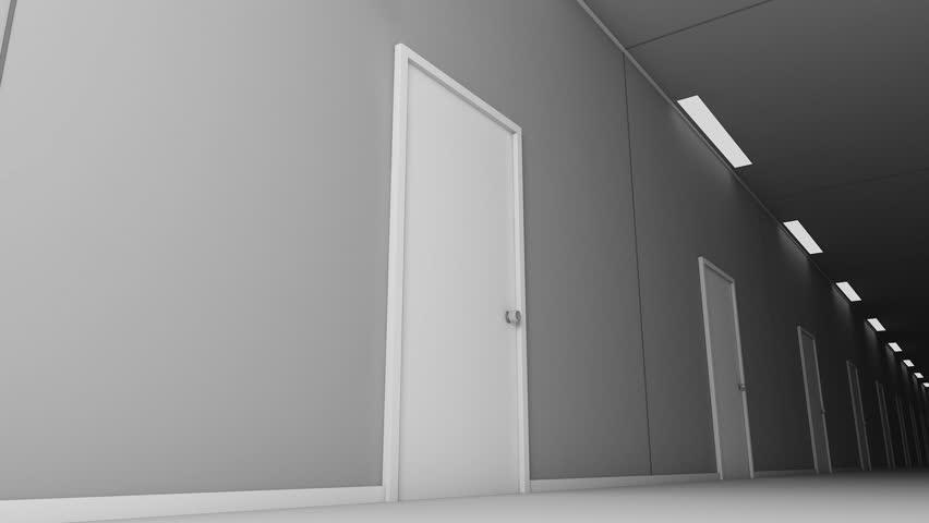 Doors Opening Amp Walking On The Corridor With Doors Opening