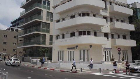 TEL AVIV, ISRAEL - CIRCA JUNE 2015 -Renovated bauhaus building in Tel-Aviv