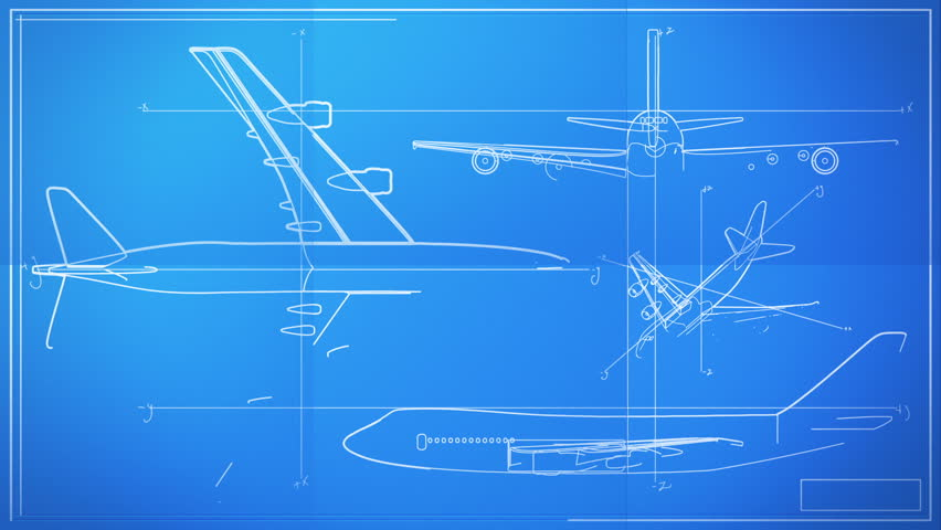 Aircraft Technical Drawing Blueprint Time Lapse