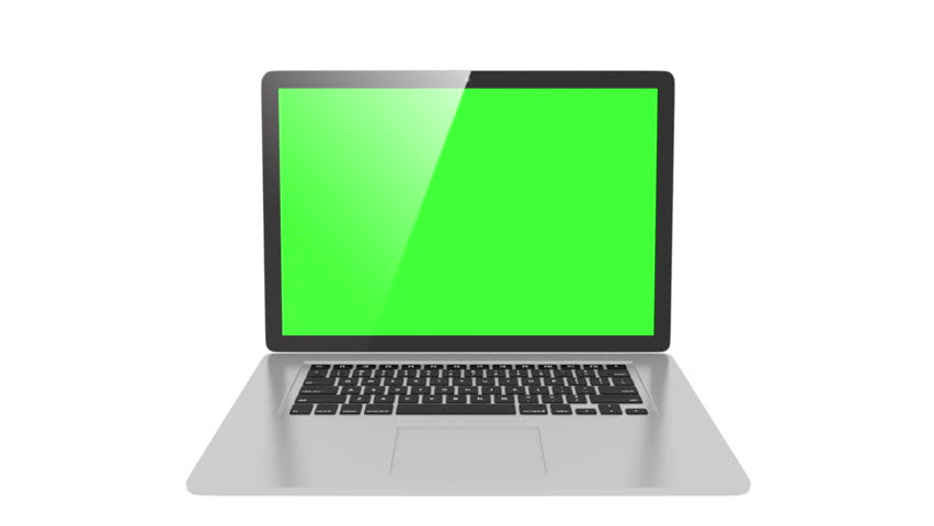 isolated laptop with  Green screen, and second version with white screen #11910080