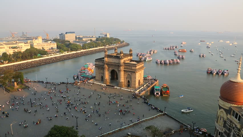 India - March 2015: Mumbai India India Gate Maharashtra Asia monument Bombay boat building sea city people harbour