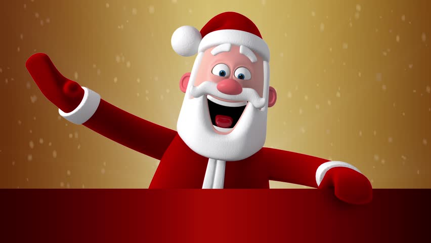 3d new year greeting card christmas animation of santa claus stand 3d new year greeting card christmas animation of santa claus stand up behind a blank banner and waving hands and blinking eye space for text m4hsunfo Images