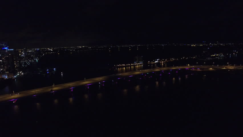 Aerial Drone Video Downtown Miami At Night