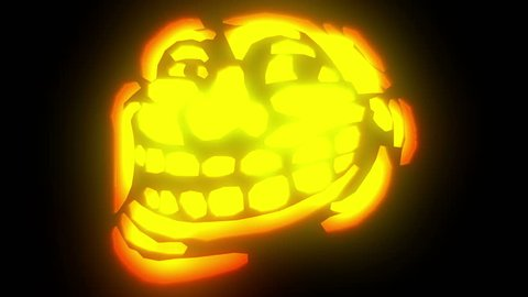 Halloween animation featuring a creepy Troll Meme face pumpkin face revealing with glowing light effects.