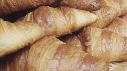 Mountain of french croissants recently made. 4k