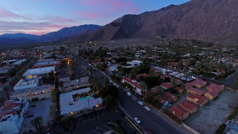 Aerial video of Palm Springs, California at sunrise.