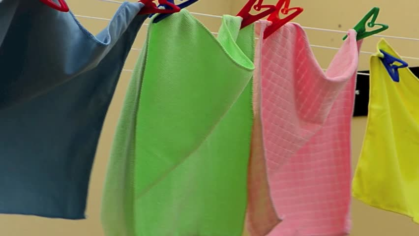 Hanging Cloth To Dry Out Stock Footage Video 100 Royalty Free