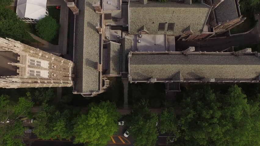 Aerial drone over Princeton, New Jersey. Establishing shot flyover. DJI PHANTOM 3 in 4K UHD.