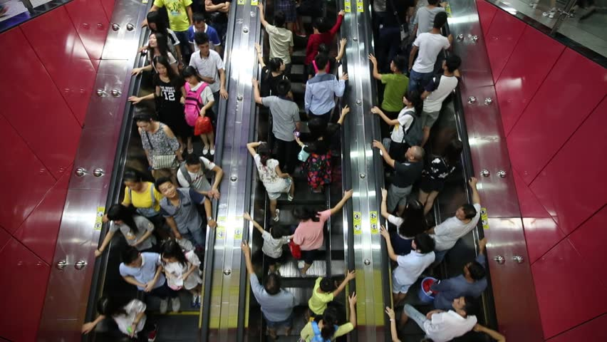 Guangzhou,china - oct,2,2015:The national day golden week, a lot of peoples crowded in metro station.