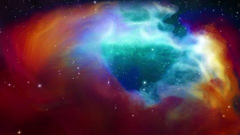 Journey around and through nebula and stars - low angle, real 3D volumetrics