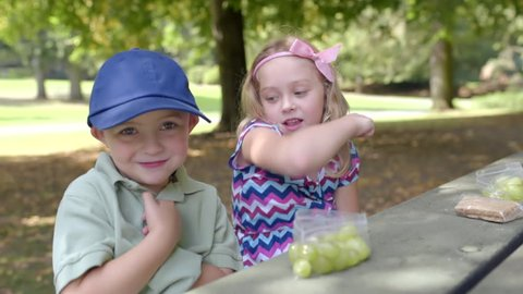 Funny Little Kids Try To Make Fart Noises With Their Hands In Their Armpits, During Lunch In The Park