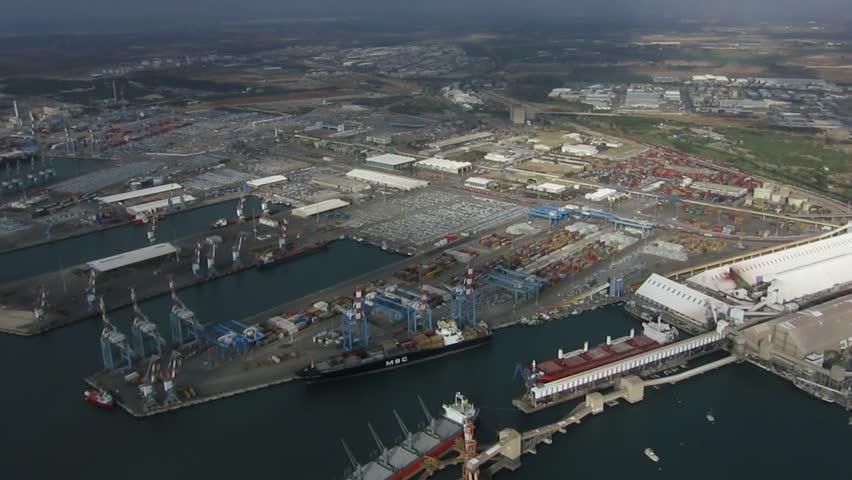 Aerial shot of Ashdod port | Shutterstock HD Video #12082700