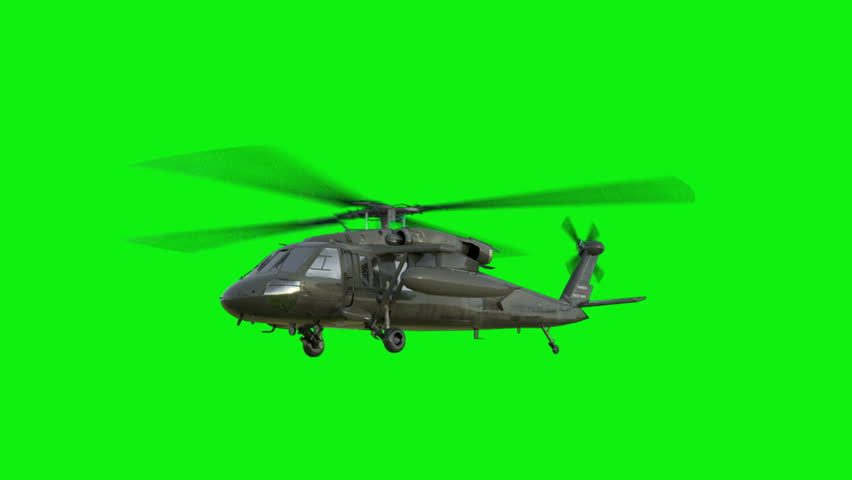 Military helicopter UH-60 Black Hawk realistic 3d animation green screen footage