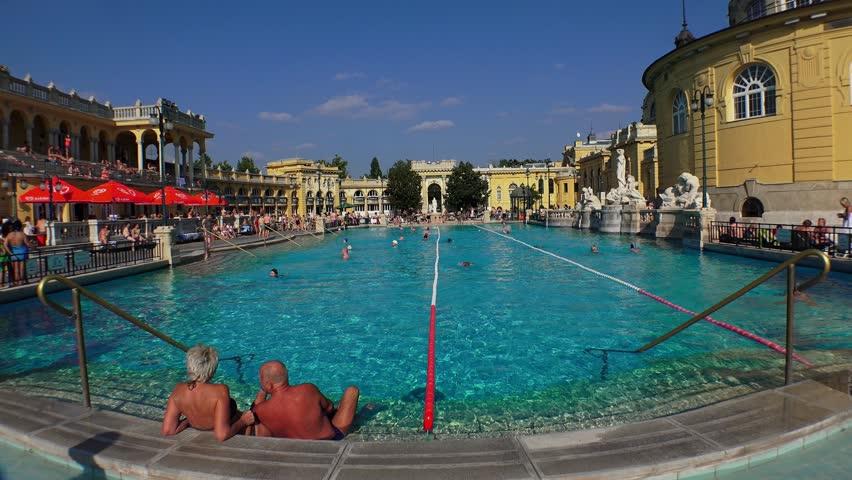 BUDAPEST, HUNGARY - SUMMER, 2015: Szechenyi Baths, Traditional ...