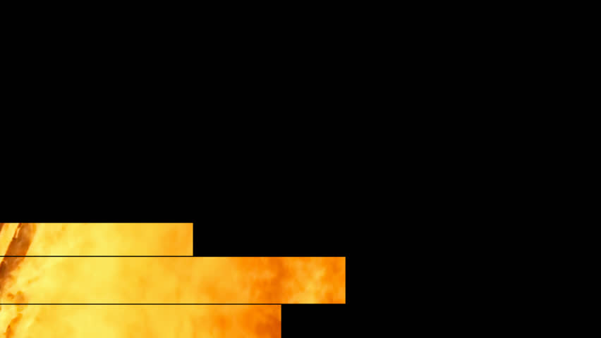 Lower thirds animation: three bands (a fire with orange, red, yellow flames) appear and disappear. With alpha channel.