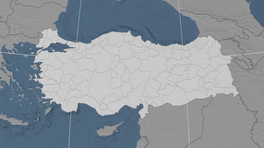 Elazig Region Extruded On The Elevation Map Of Turkey Elevation
