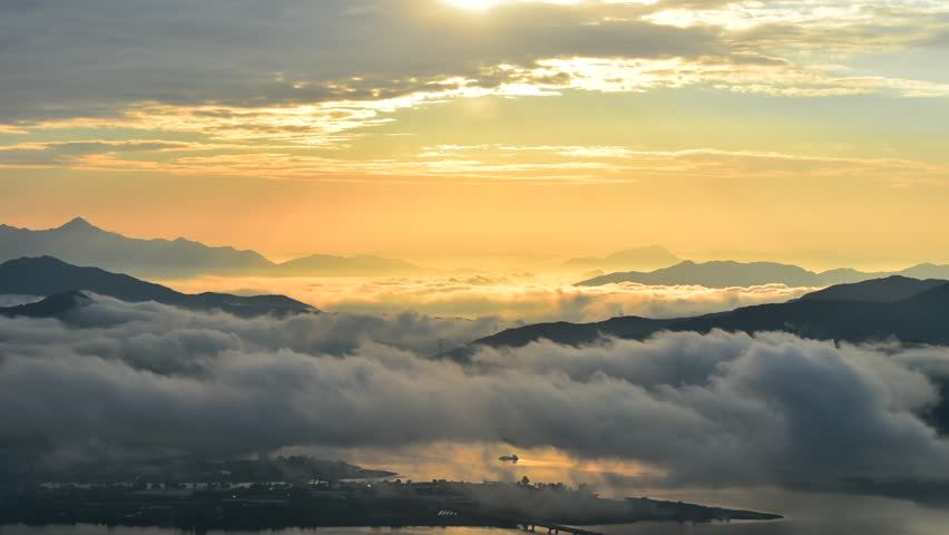 Seoraksan mountains is covered by morning fog and sunrise in Seoul Korea | Shutterstock HD Video #12157817