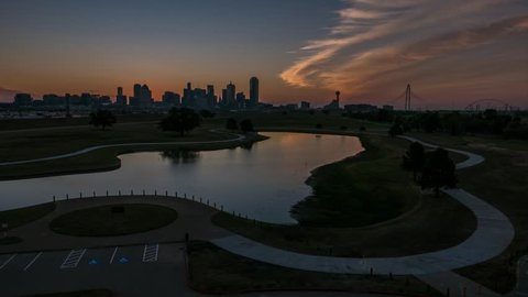 Dallas Skyline time-lapse sunrise (12Sec ver) w/ great sky, lake and bike trail