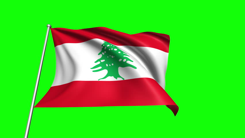 Lebanon flag with fabric structure (4K, loop, green background)