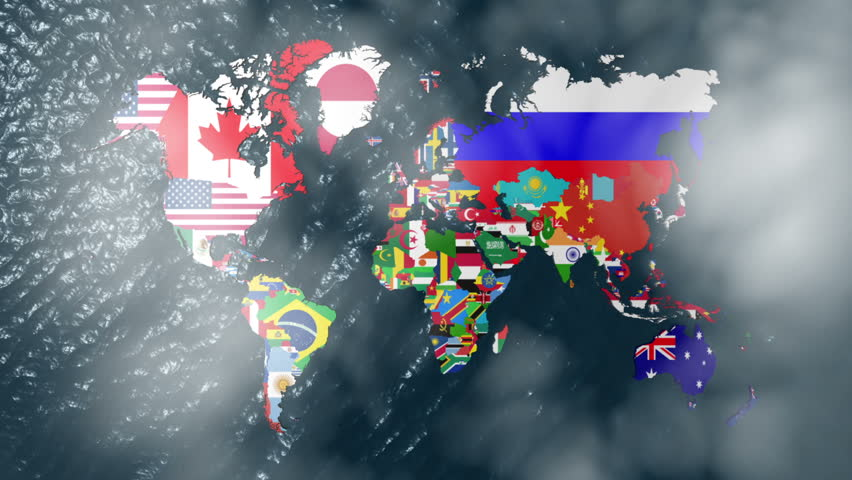 3d wide flag world map zoom to north america videos de metraje en 3d flag world with a slow zoom to india with clouds hd stock video clip gumiabroncs Images