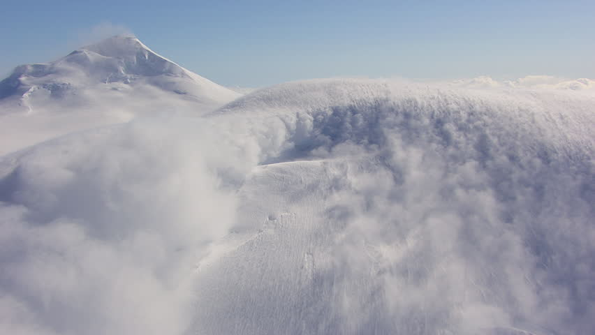 MS AERIAL View of avalanche on Tordrillo snowy mountain peak / Alaska, United States #12214580