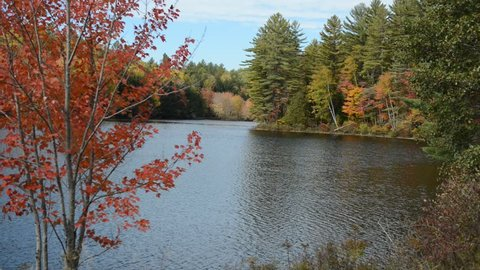 Fall foliage over water in the Adirondacks, New York