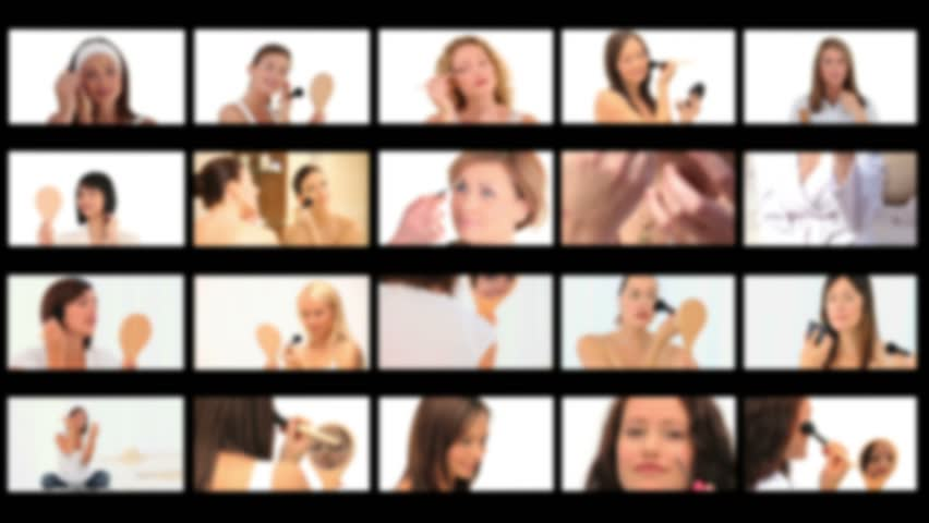 Montage of cute women with making-up