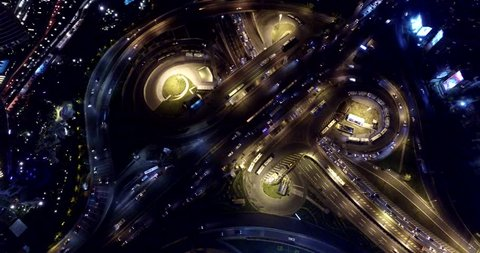 Airview of Skyscrapers in Istanbul Night, Turkey