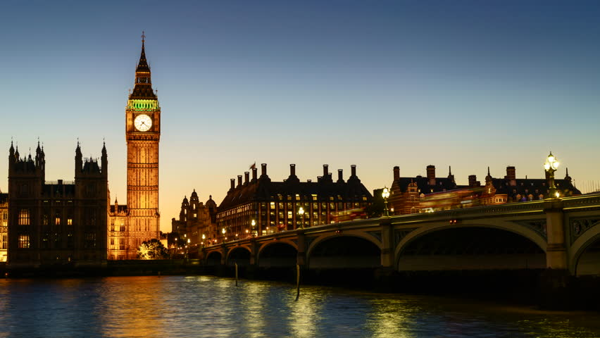 Sunset to night time lapse of the Houses of Parliament and Big Ben clock tower with Westminster Bridge and River Thames, London, UK | Shutterstock HD Video #12247520